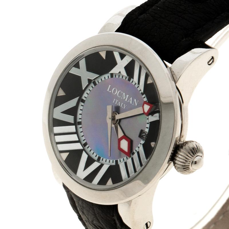 Locman Gris Nacre N. G2803 Cuir d'Autruche Femmes montre-Bracelet 30MM