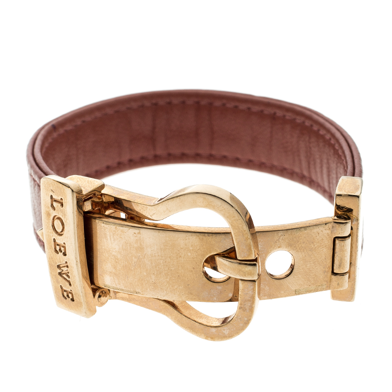 385dc8056f1 Buy Loewe Nude Red Leather Rose Gold Tone Buckle Bracelet 136736 at ...