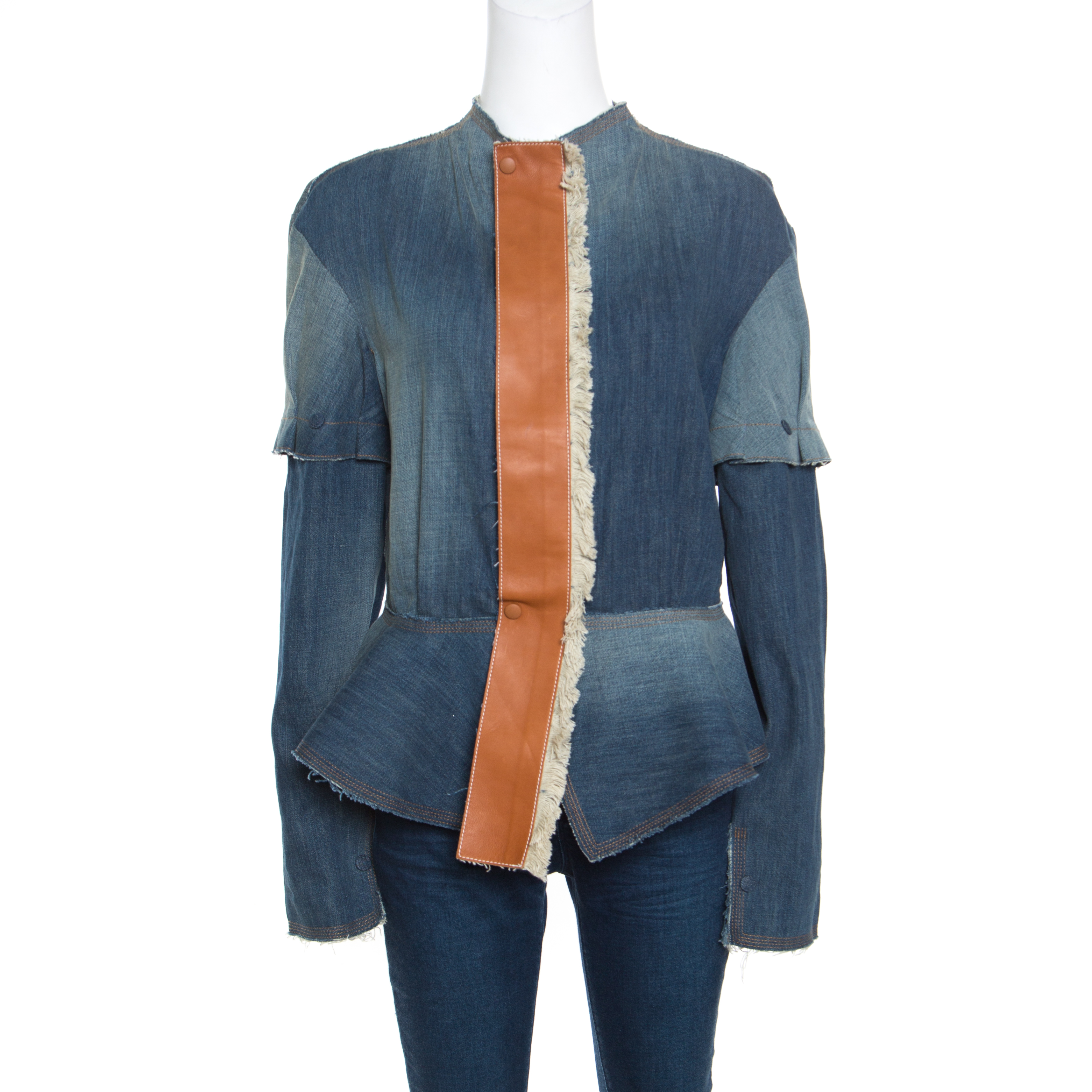Фото #1: Loewe Indigo Washed Frayed Edge Denim Leather Trim Peplum Jacket M