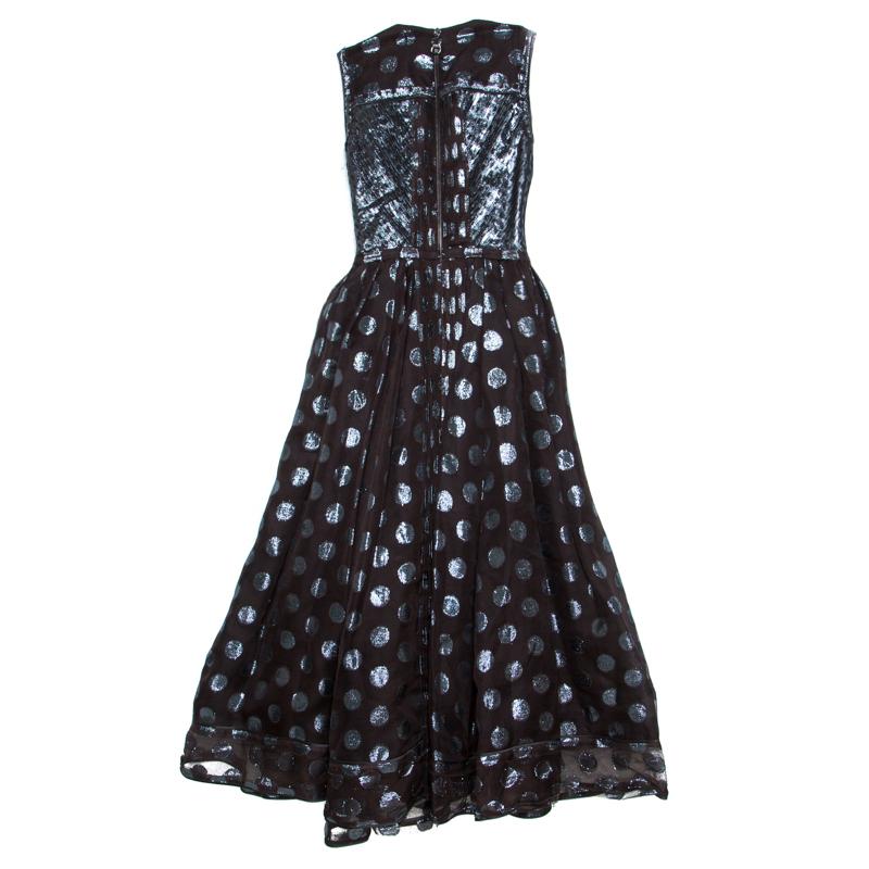 Loewe Brown and Metallic Blue Polka Dot Pattern Silk Pleat Detail Dress