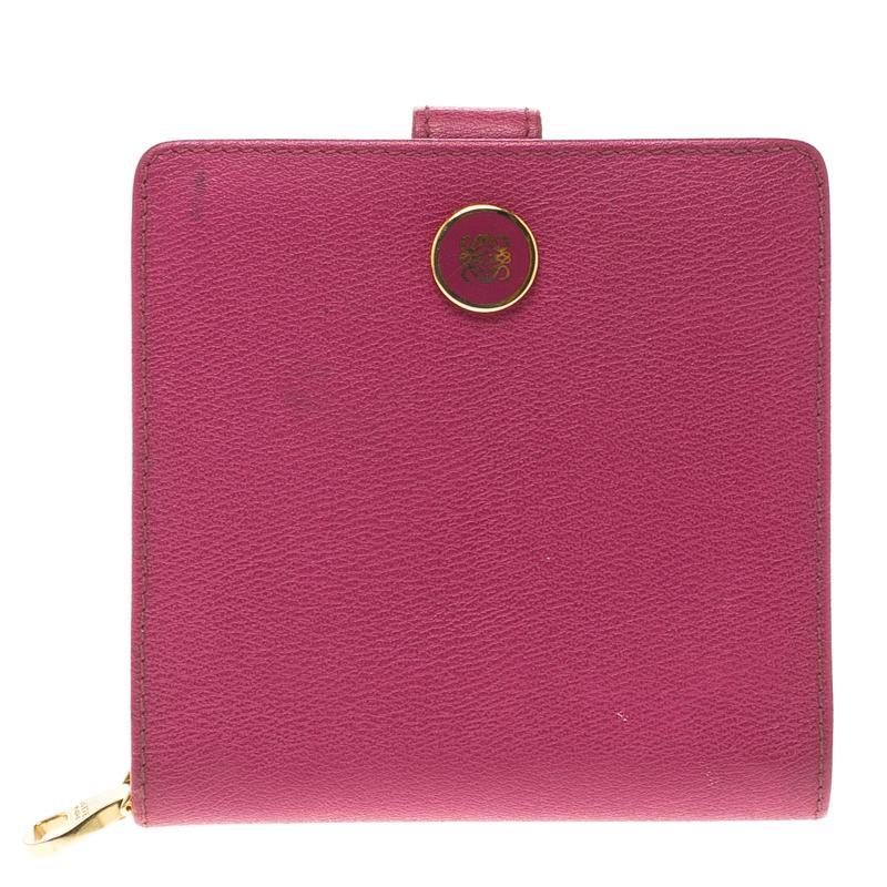 Купить со скидкой Loewe Pink Leather Compact Wallet