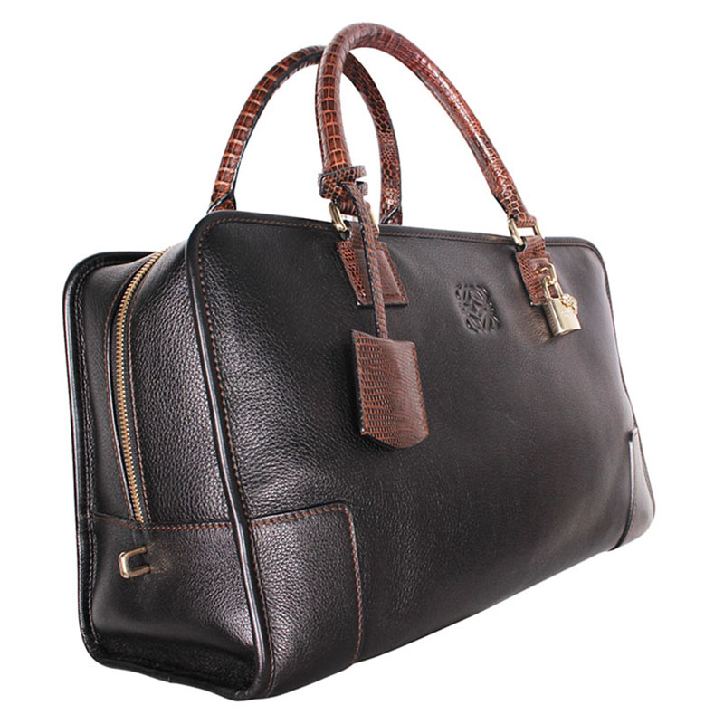 Loewe Dark Brown Leather/Lizard Amazona 36 Satchel Bag
