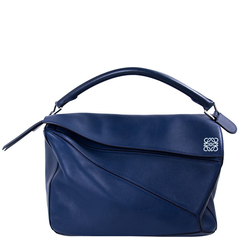 3f61e8832a Buy Loewe Navy Blue Leather Large Puzzle Bag 156599 at best price