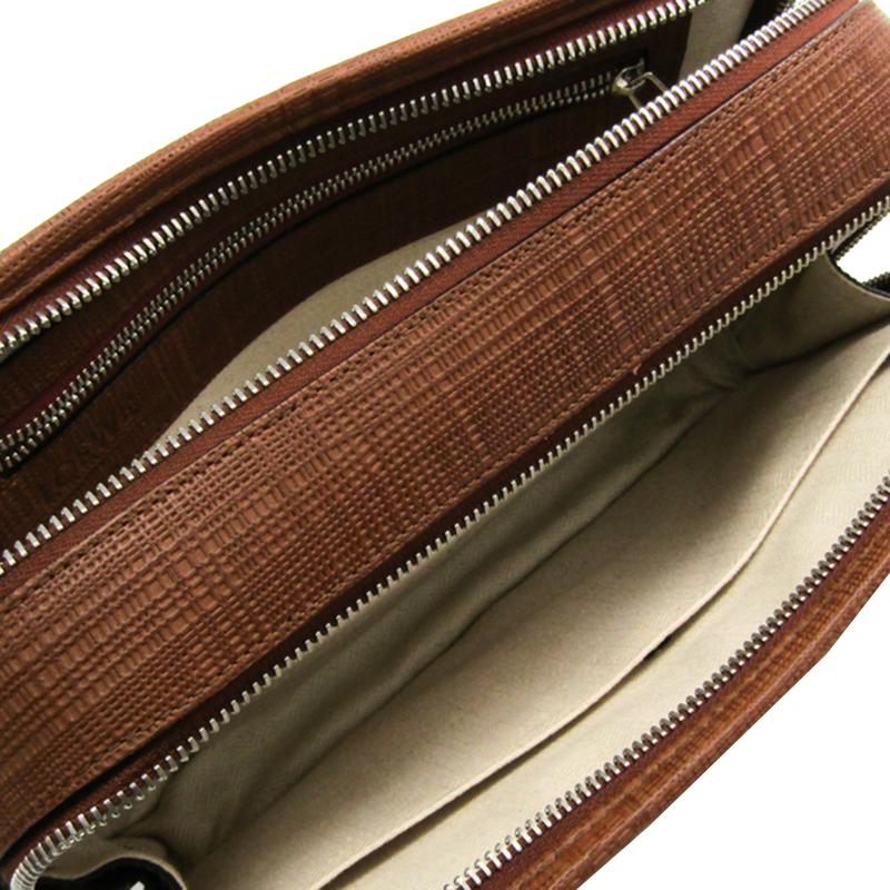 Loewe Brown Embossed Leather Clutch Bag