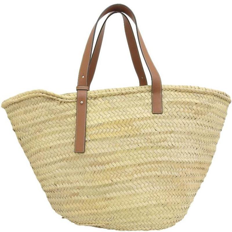 Loewe Beige/ Brown Straw and Leather Basket Bag