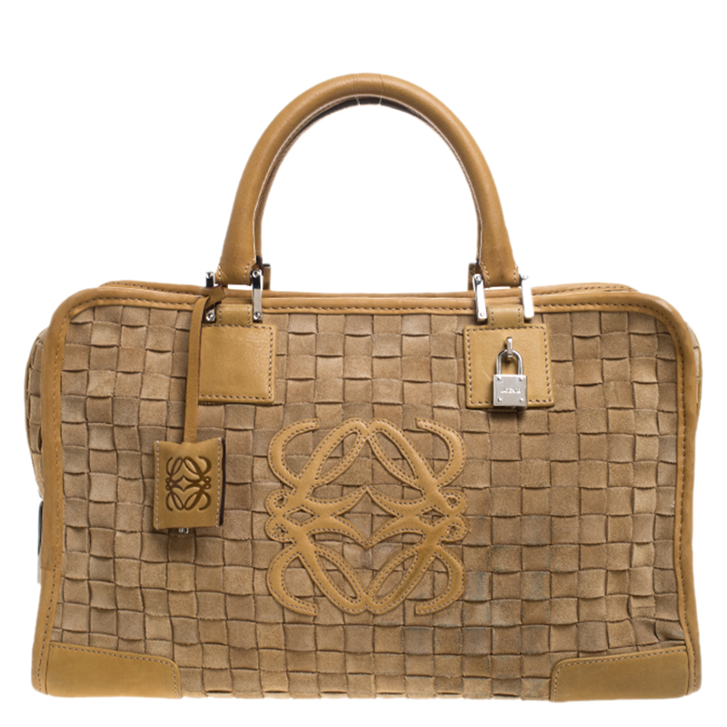 Loewe Light Brown Leather And Suede Woven Amazona 36 Tote