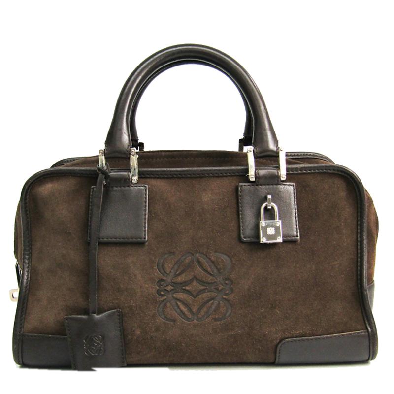 Loewe Khaki/Brown Leather And Suede Amazona 28 Bag