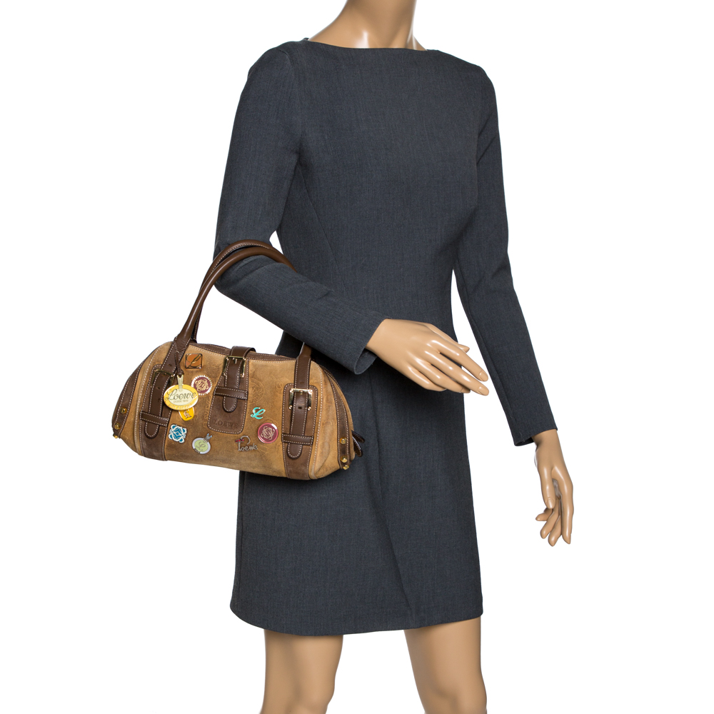 Loewe Brown Badge Suede and Leather 160th Anniversary Satchel  - buy with discount