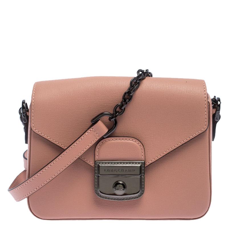 Longchamp Pink Leather Small Le Pliage Heritage Crossbody Bag