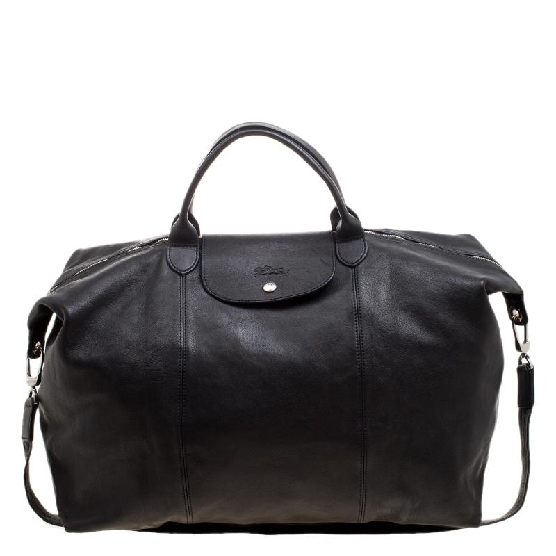 Black Leather Oversize Le Pliage Tote