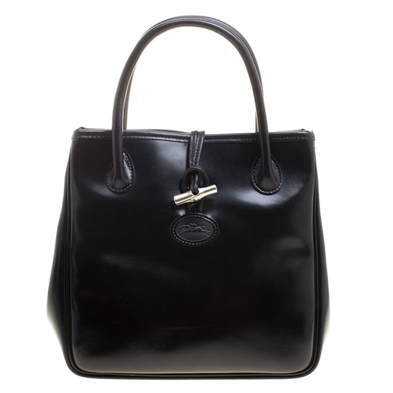 dbc5655c428f Buy Longchamp Black Leather Mini Roseau Tote 128041 at best price