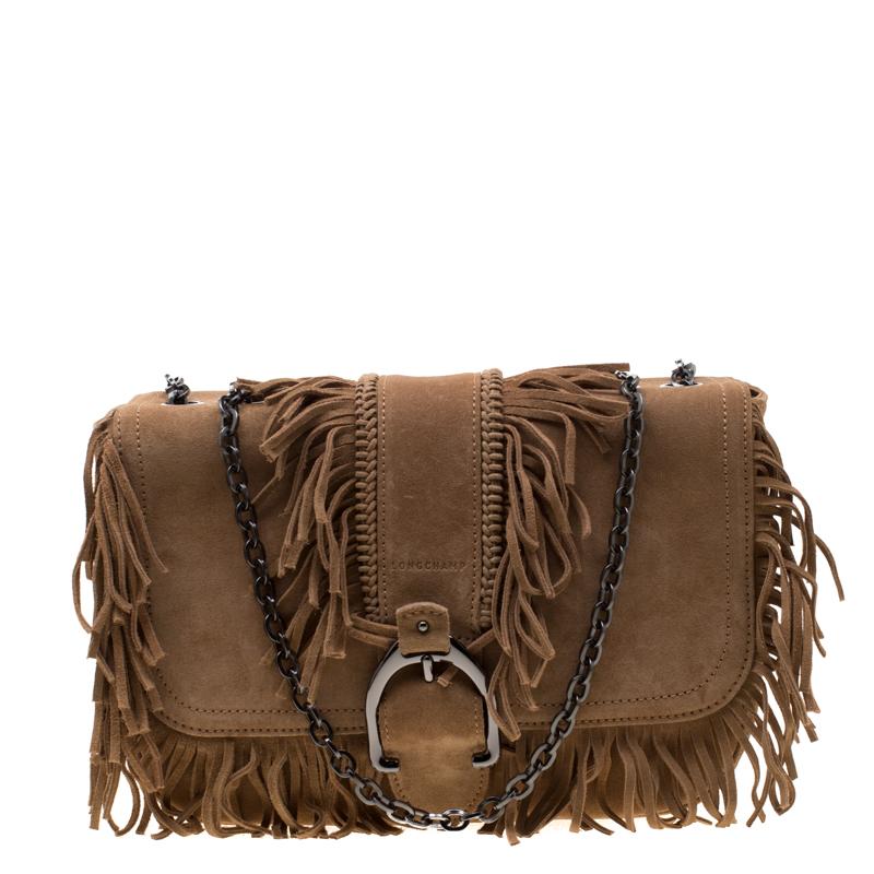 252363994b02 Buy Longchamp Light Brown Suede Amazone Shoulder Bag 185281 at best ...