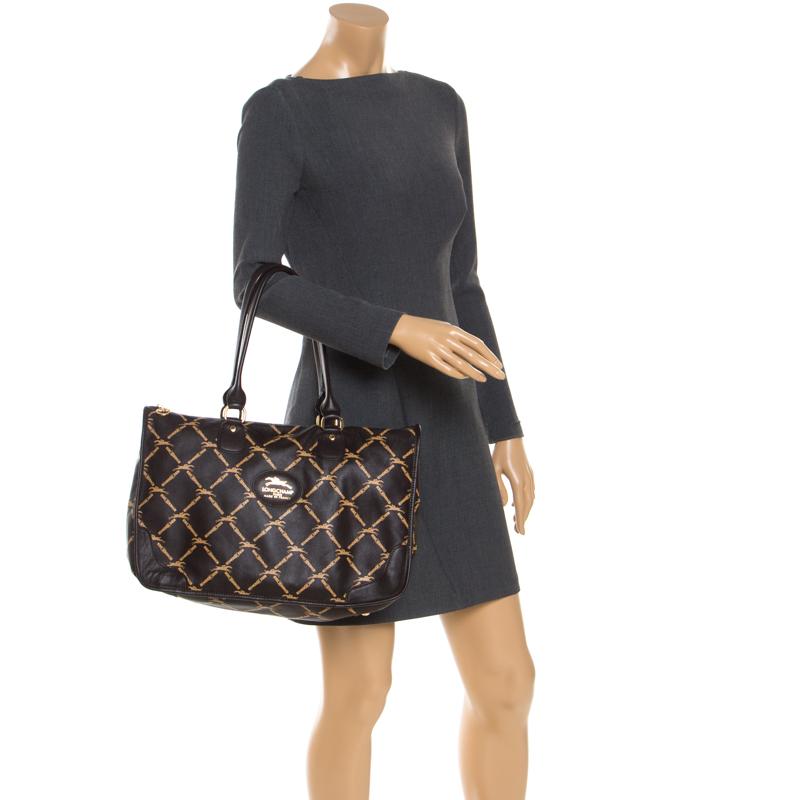 Longchamp Marron Cuir Imprimé Sacoche