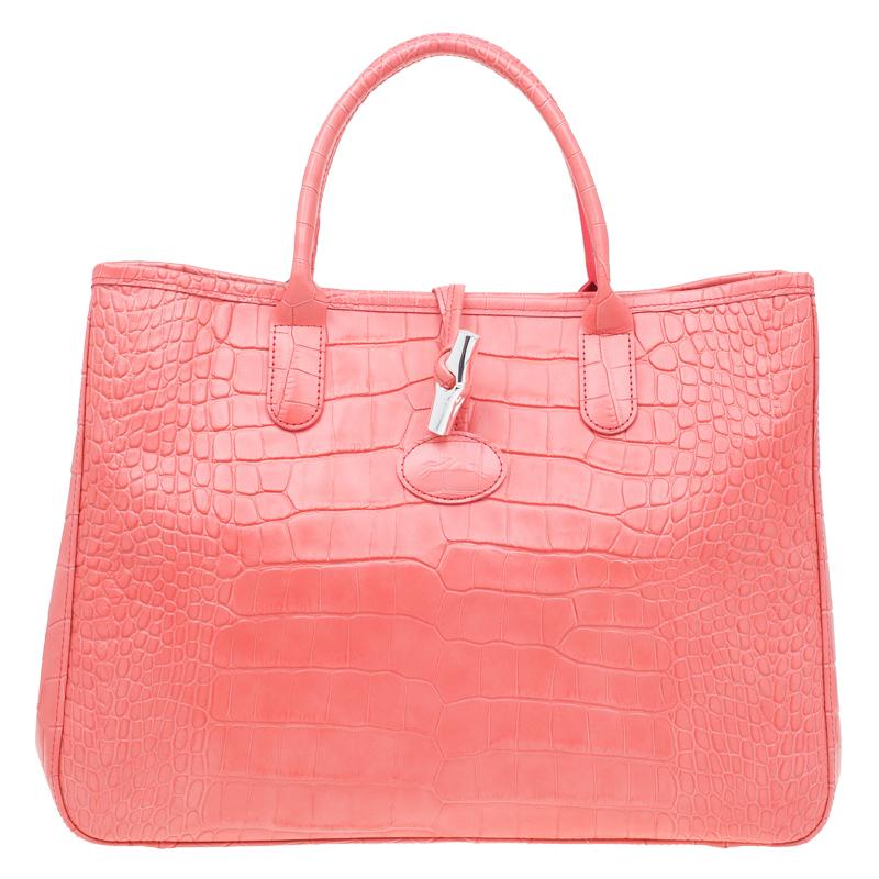 ... Longchamp Corail Pink Croc Embossed Leather Roseau Tote. nextprev.  prevnext c0c97de0e8
