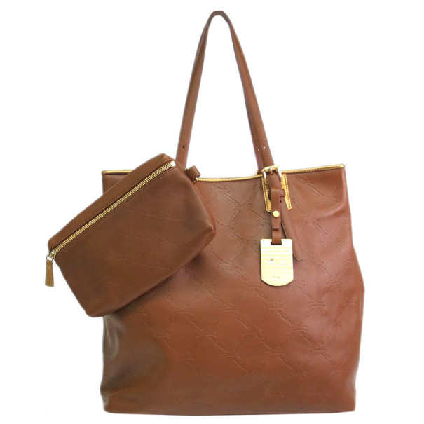Longchamp Brown Embossed Leather Tote
