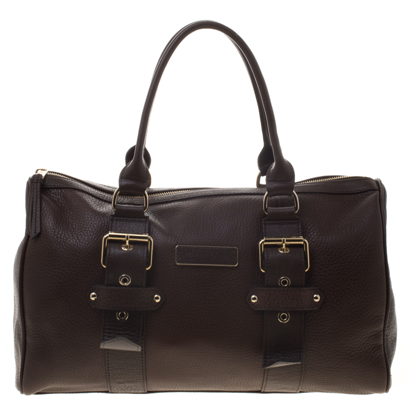 Longchamp Brown Leather Gloucester Bowling Bag
