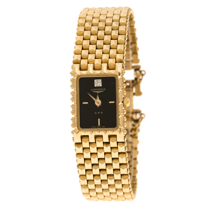 f1dc4da3a7d Buy Longines Black Gold Plated Vintage QWR HT 1964-0961 Women s ...