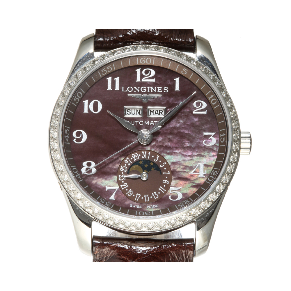 Pre-owned Longines Purple Diamonds Stainless Steel Master Collection L2.503.0 Women's Wristwatch 36 Mm