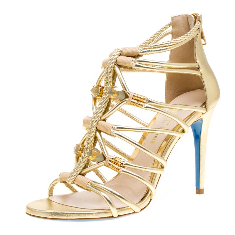 Купить со скидкой Loriblu Bijoux Metallic Gold Leather Crystal Embellished Strappy Sandals Size 38
