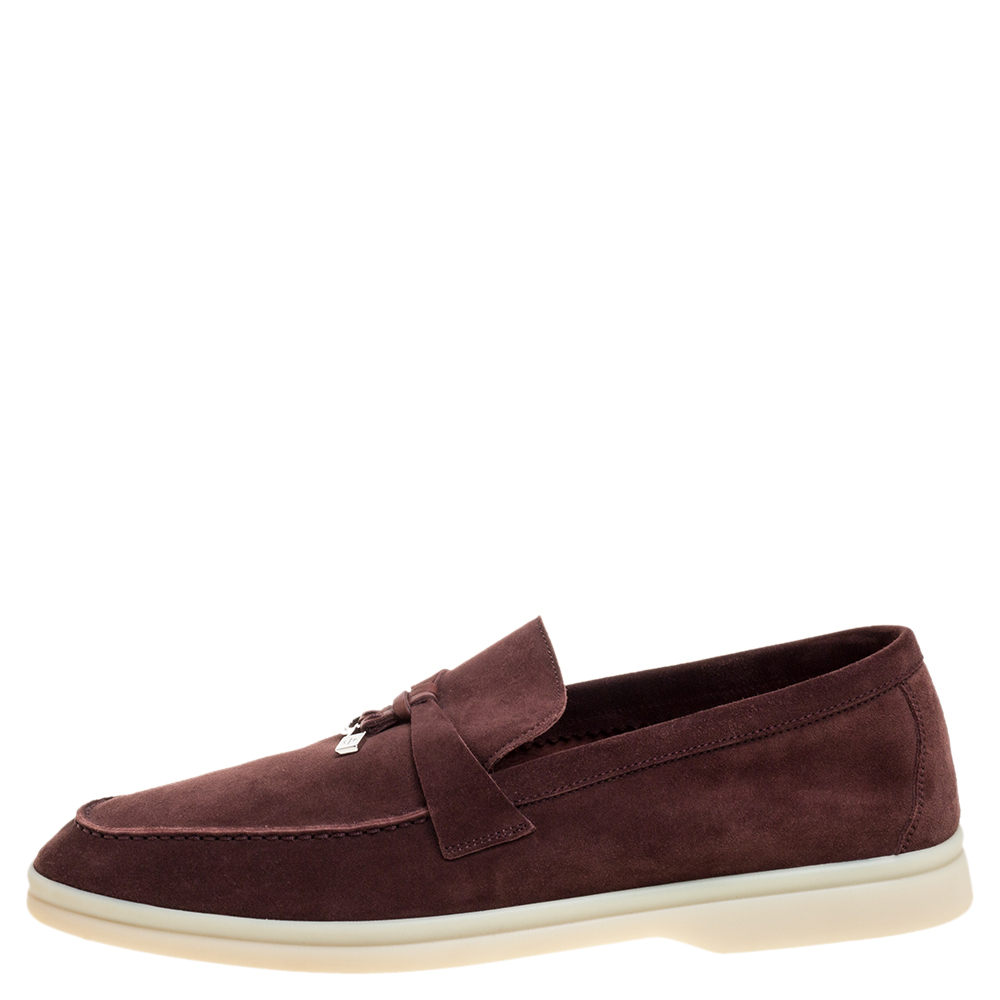 Loro Piana Maroon Suede Summer Charms Walk Moccasins Size 39.5