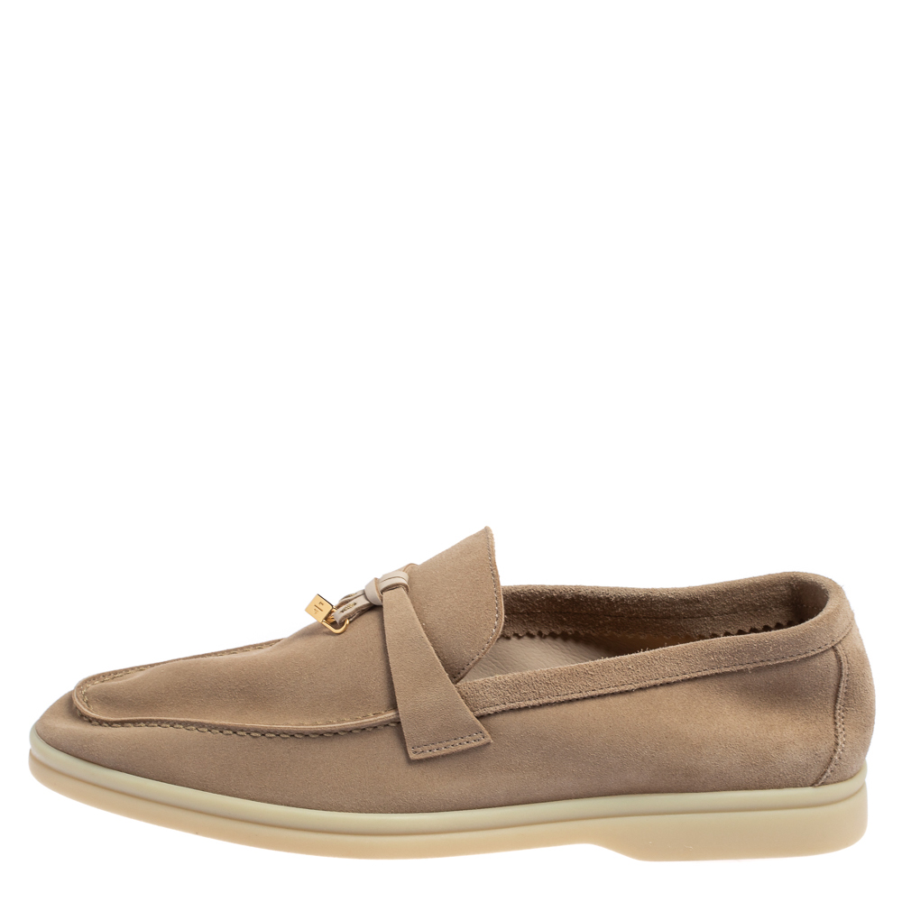 Loro Piana Beige Suede Summer Charms Walk Moccasins Size 40