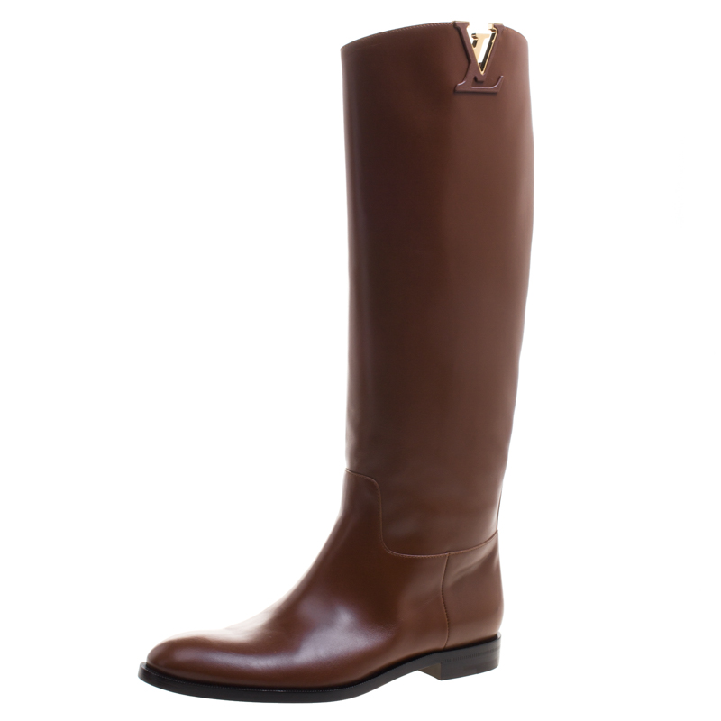 0722e6211a4 ... Louis Vuitton Cognac Leather Heritage Knee High Boots Size 39.  nextprev. prevnext