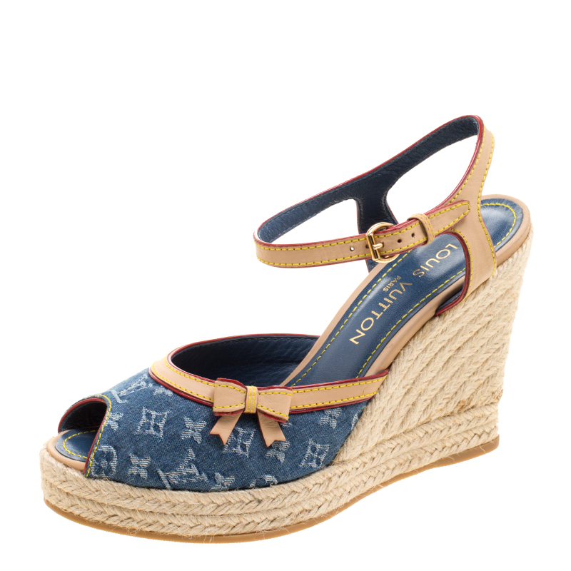 346bd8e0969f Buy Louis Vuitton Denim and Leather Espadrille Wedge Peep Toe ...