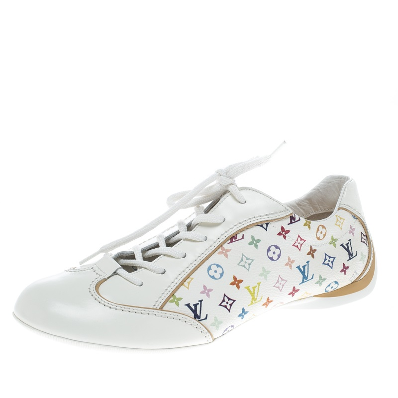 871e7b507a19 Buy Louis Vuitton White Monogram Canvas and Leather Lace Up Sneakers ...