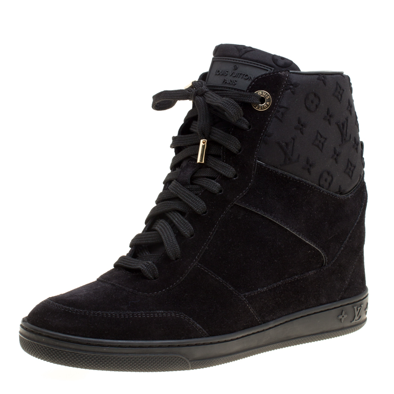 b866a85c8002 ... Louis Vuitton Black Suede And Embossed Monogram Fabric Millenium Wedge Sneakers  Size 37.5. nextprev. prevnext