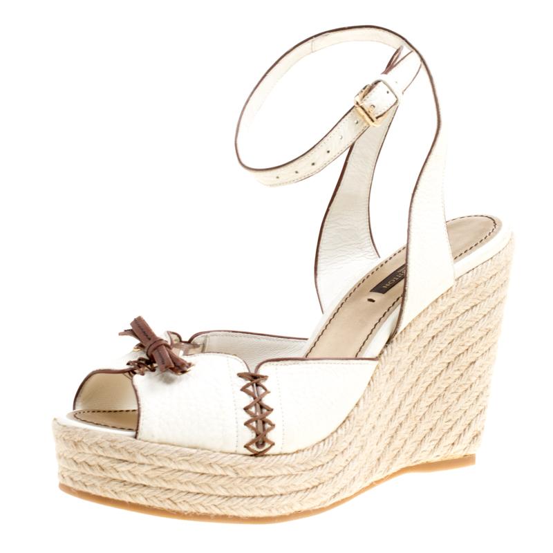 83ac76288cad ... Louis Vuitton Off White Leather Ankle Strap Espadrilles Wedge Sandals  Size 38. nextprev. prevnext