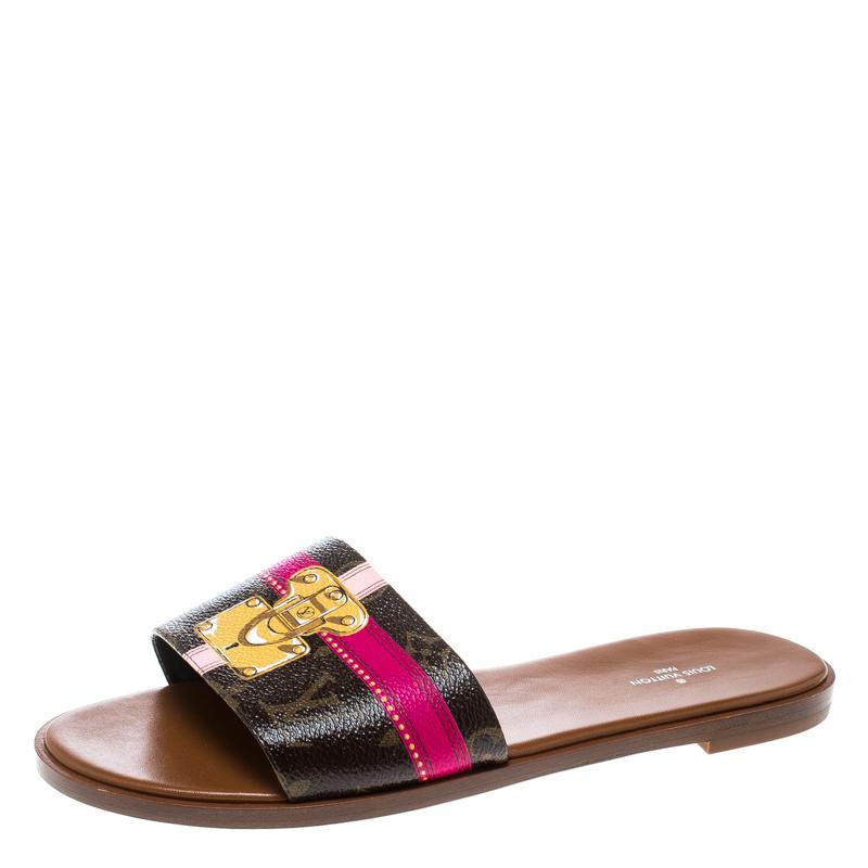 8af6c4f58318 Buy Louis Vuitton Monogram Canvas Lock It Flat Slides Size 40 166255 ...