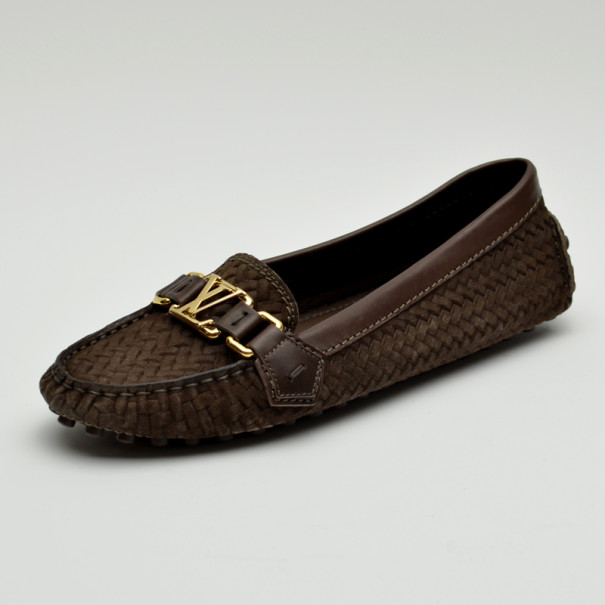 Louis Vuitton Brown Oxford Suede Calf Loafers Size 37.5