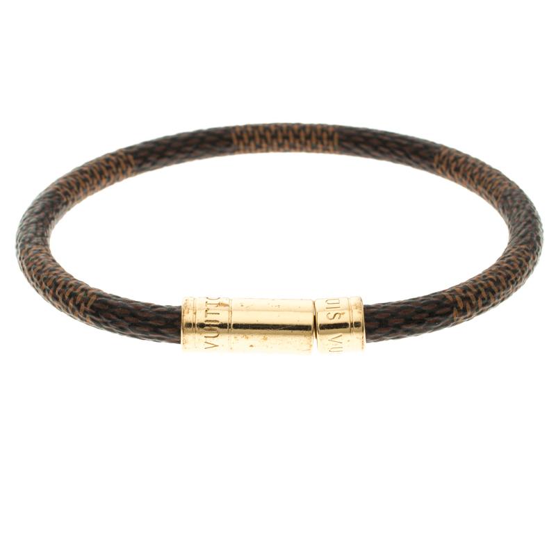 Louis Vuitton Keep It Damier Ebene Canvas Gold Tone Bracelet