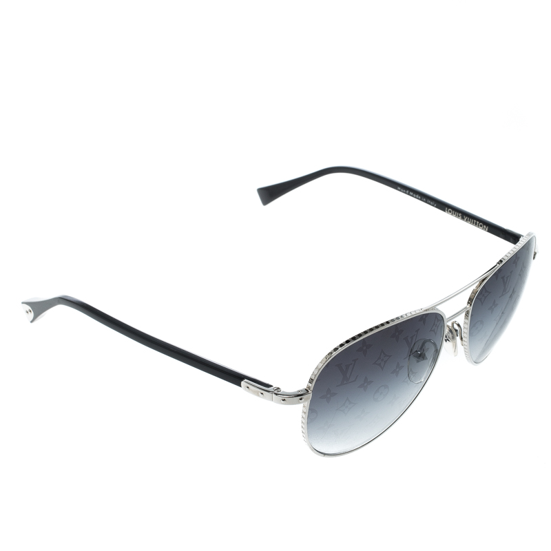 cb51985f4 ... Louis Vuitton Silver/Monogram Black Gradient Z0165U Conspiration Pilote  Aviator Sunglasses. nextprev. prevnext