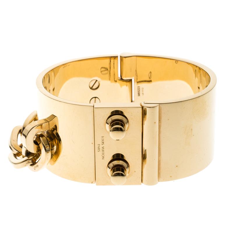 13912dfd7f2 Buy Louis Vuitton Lock Me Manchette Gold Tone Wide Cuff Bracelet ...