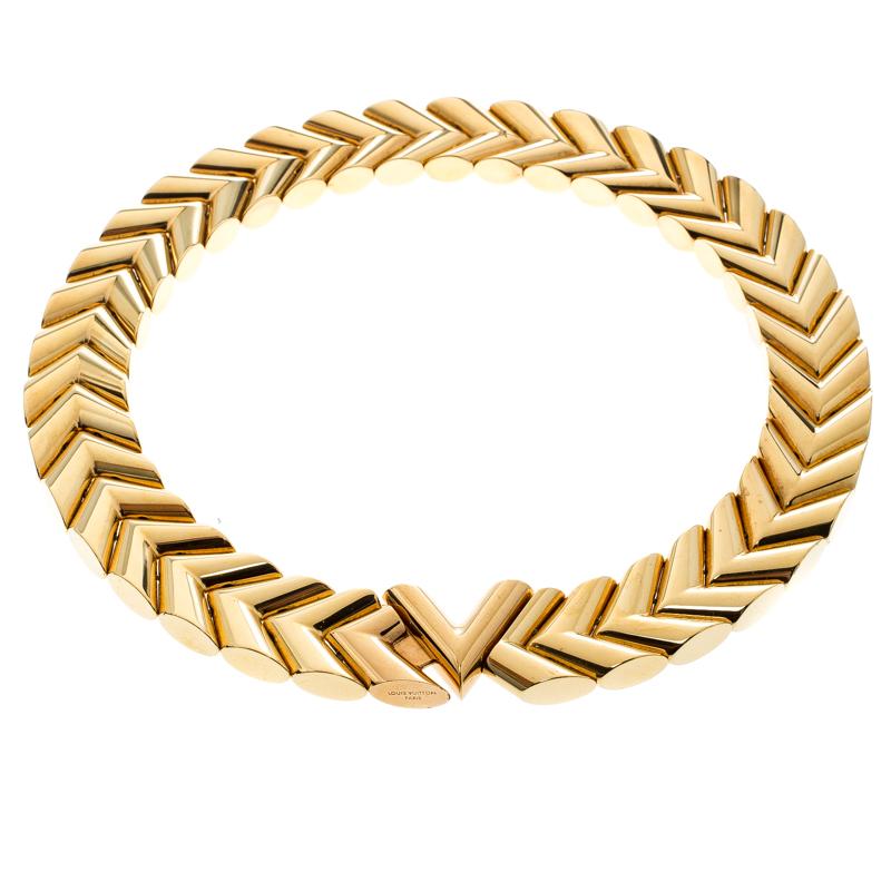 940b627470ece Louis Vuitton Unchain V Gold Tone Choker Necklace