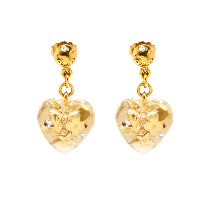 99ad1439d97 ... Louis Vuitton Clear Resin Monogram Inclusion Gold Tone Heart Drop  Earrings. nextprev. prevnext
