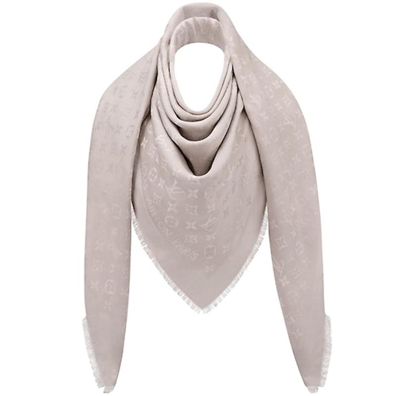 Louis Vuitton Greige Monogram Wool and Silk Shawl