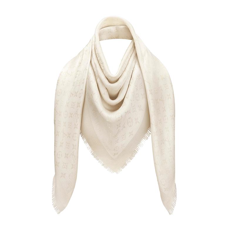 Louis Vuitton White Monogram Shine Shawl