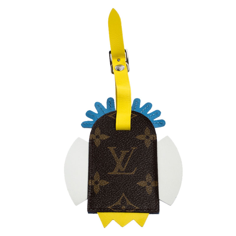 Louis Vuitton Multicolor Leather Monogram Canvas Tribal Mask Luggage Tag, Brown