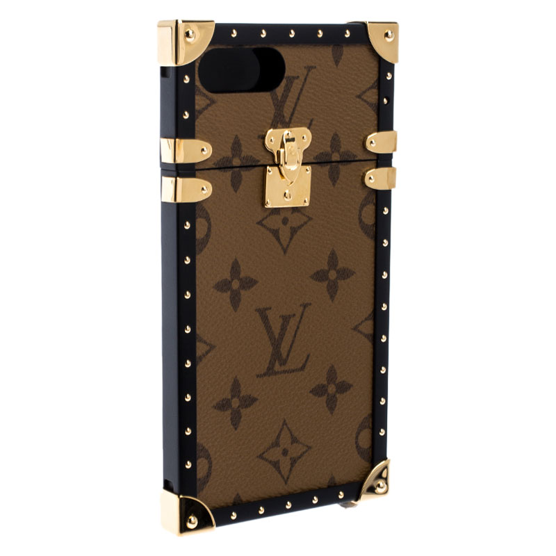 Louis Vuitton Monogram Reverse Canvas Eye Trunk iPhone 7+ Case, Brown