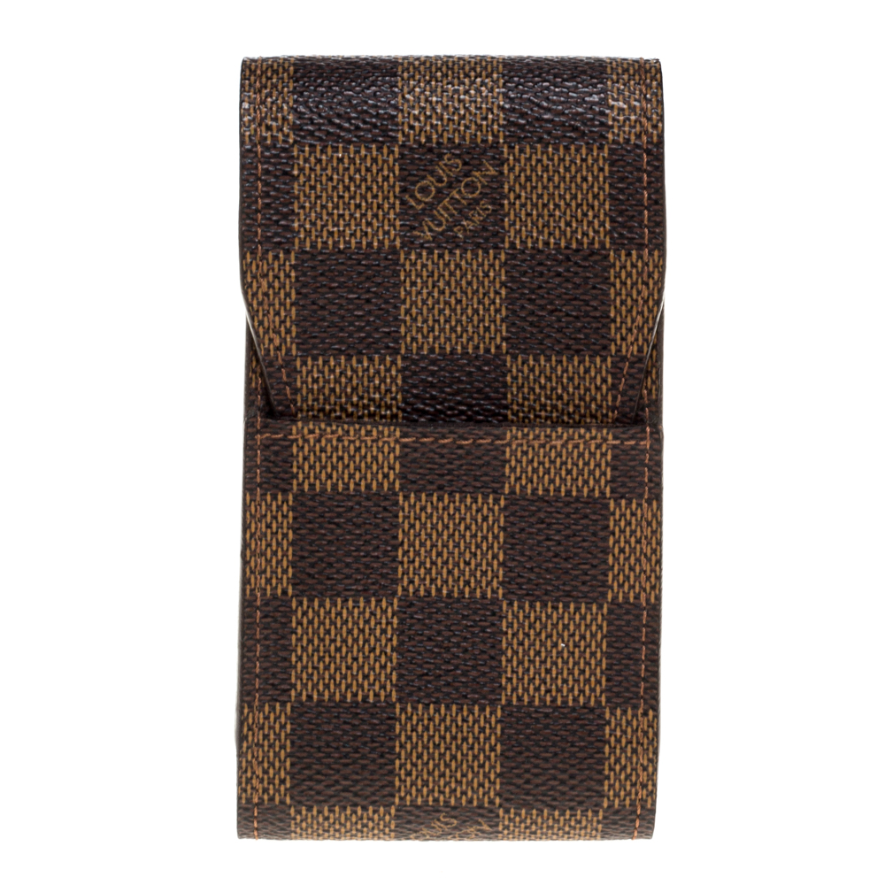 Pre-owned Louis Vuitton Damier Ebene Canvas Cigarette Case In Brown