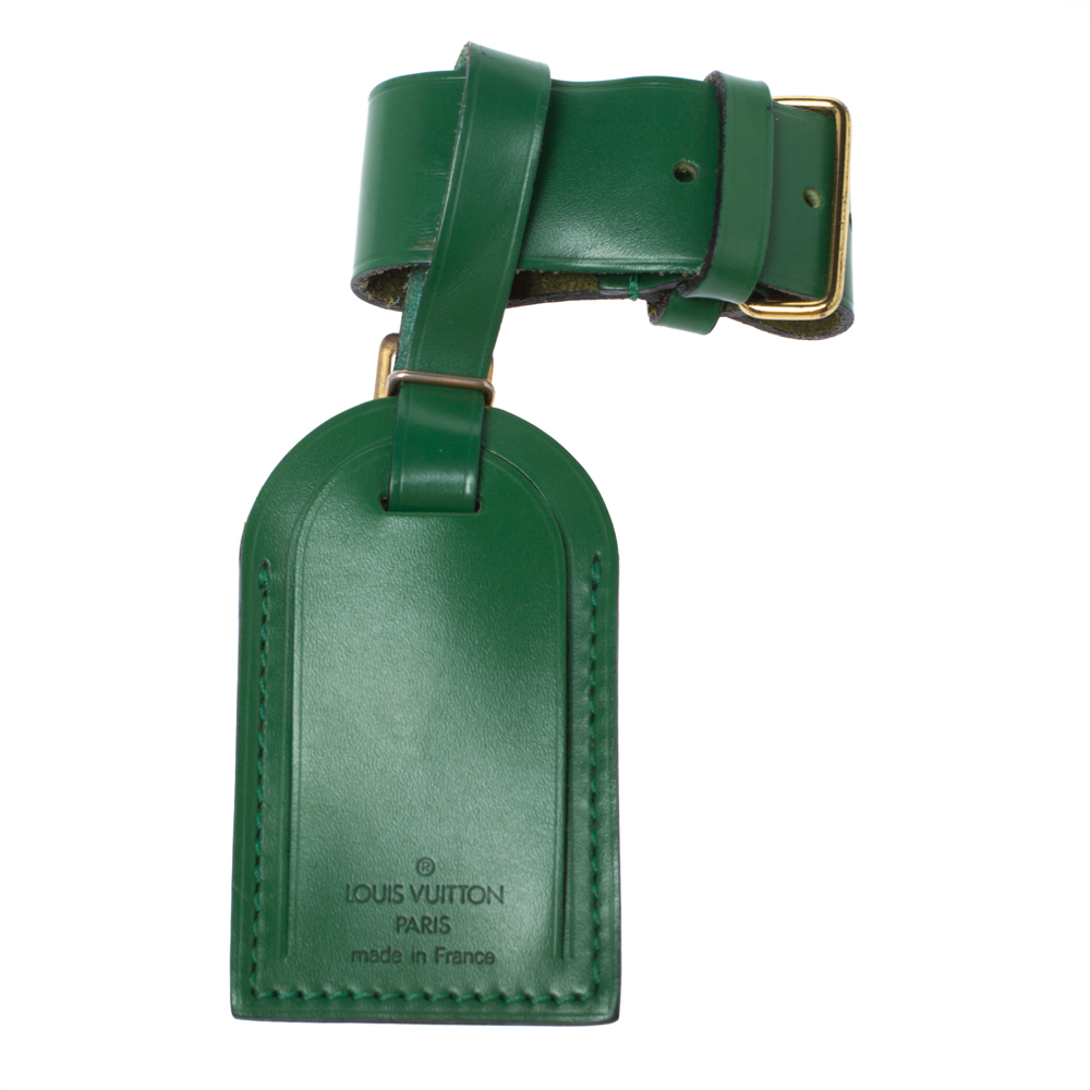 Louis Vuitton Green Leather Luggage Name Tag & Strap Holder