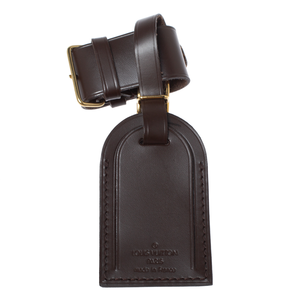Louis Vuitton Brown Leather Luggage Name Tag & Strap Holder