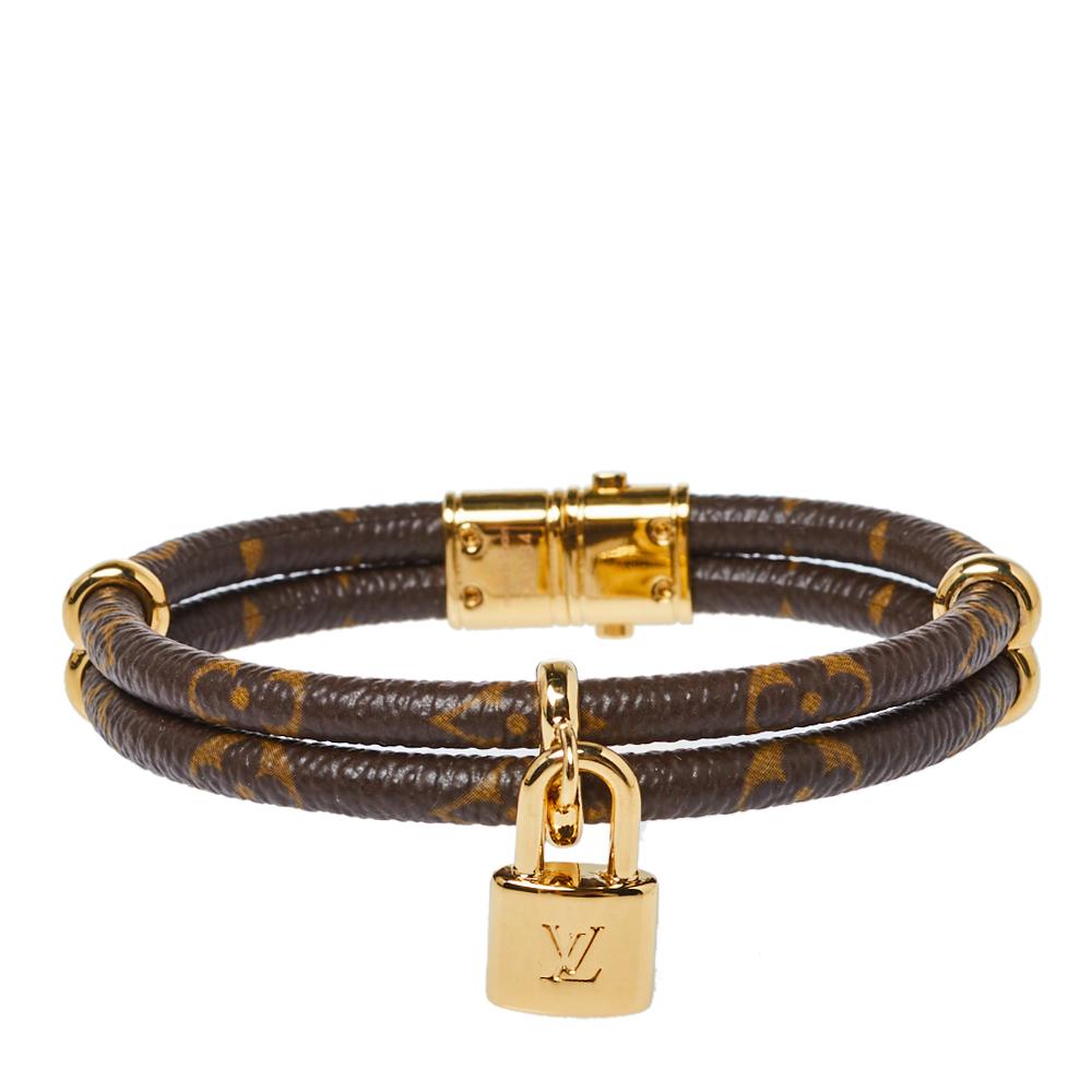 Pre-owned Louis Vuitton Keep It Twice Double Monogram Canvas Padlock Charm Bracelet 17cm In Brown