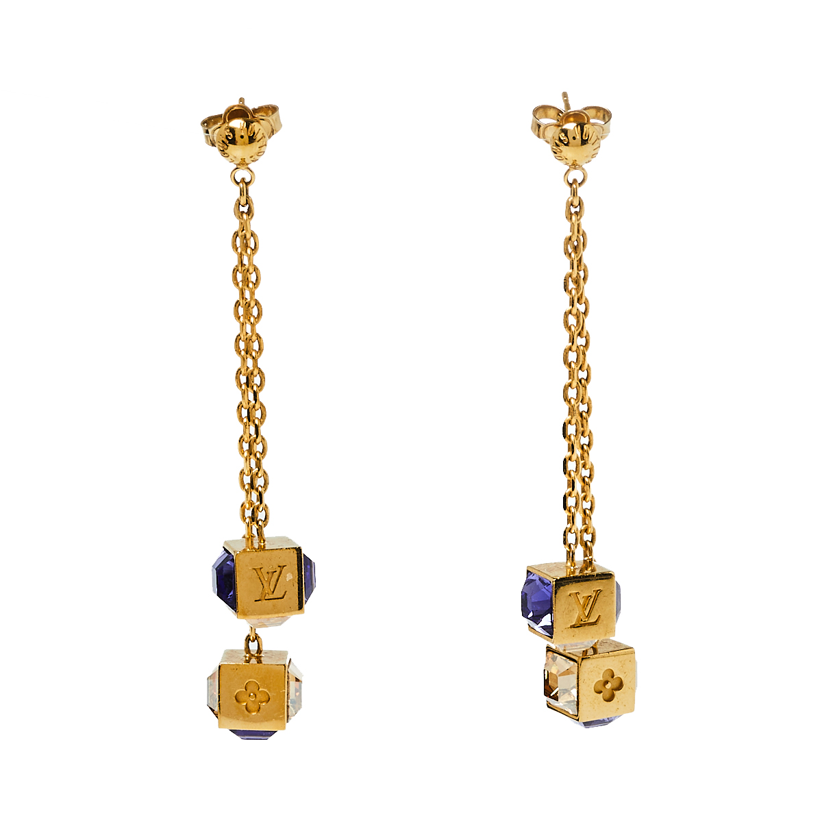 Louis Vuitton Gamble Crystal Gold Tone Drop Earrings