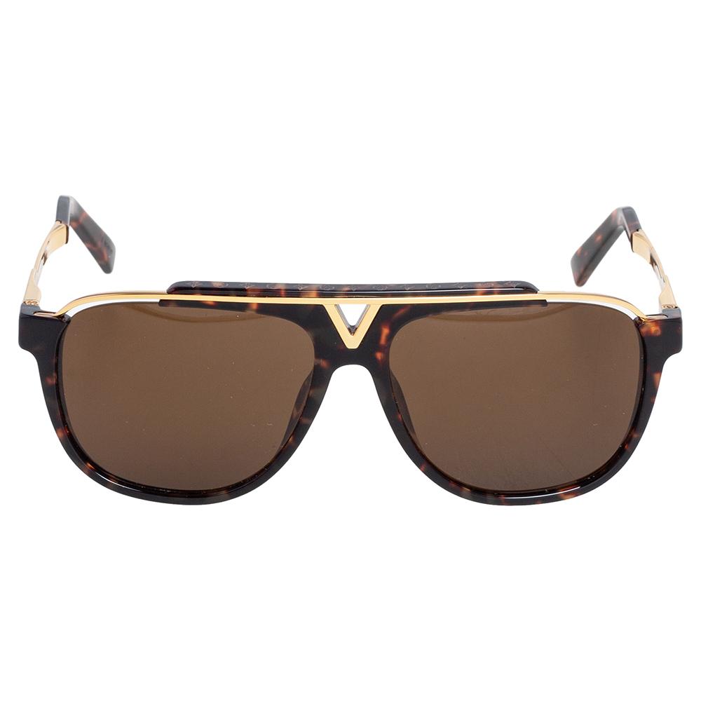 Louis Vuitton Gold Tone/Brown Tortoise Z0938E Aviator Sunglasses