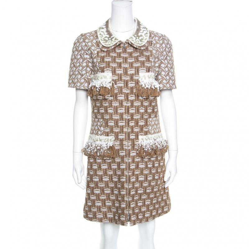 2b8e3e669c0c Buy Louis Vuitton Tan Embroidered Sequined Fringe Trim Dress Coat L ...