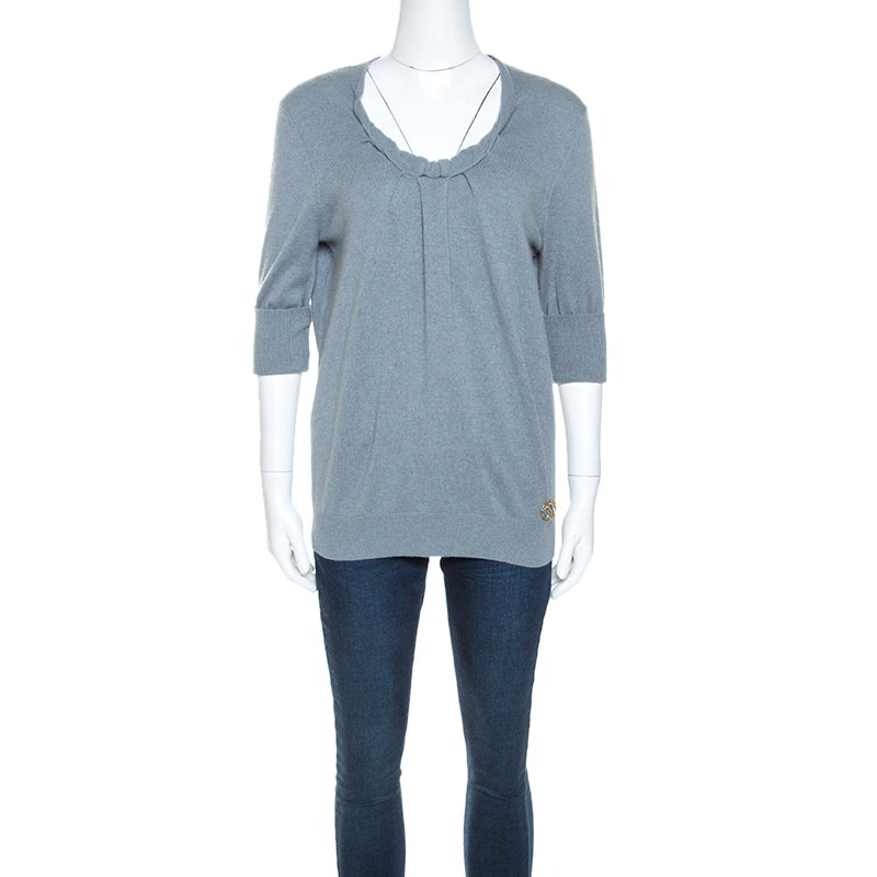 Louis Vuitton Grey Cashmere Twisted Collar Detail Short Sleeve Sweater M