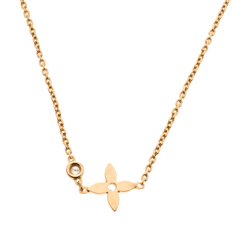 Louis Vuitton Idylle Blossom Diamond 18k Rose Gold Chain Necklace